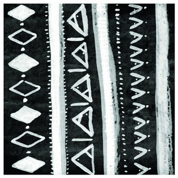 Black & White Inverted Tribal Absorbent Beverage Coasters, Set of 12