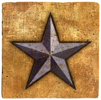 Western Star Texas Travertine Stone Beverage Coasters, Set of 8
