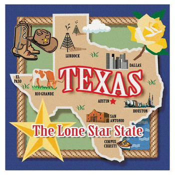 Texas the Lone Star State Absorbent Beverage Coasters, Set of 8