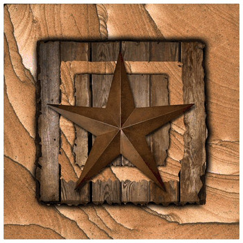 Western Star on Barn Wood Cinnabar Sandstone Coasters, Set of 8
