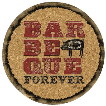 Barbeque Forever Cork Beverage Coasters by Peta Studio, Set of 12