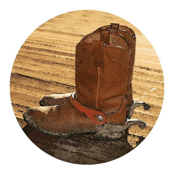Cowboy Boots Sandstone Round Beverage Coasters, Set of 8