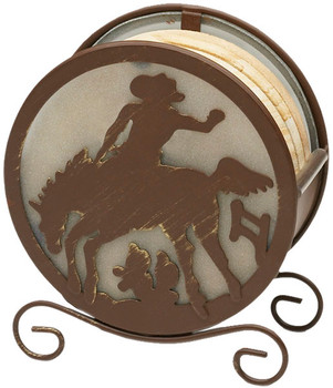 Banded Swirl Sandstone Coasters w/Horse Rider Metal Holder, Set of 10
