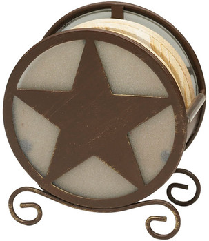 Banded Swirl Sandstone Coasters w/Texas Western Star Holder, Set of 10