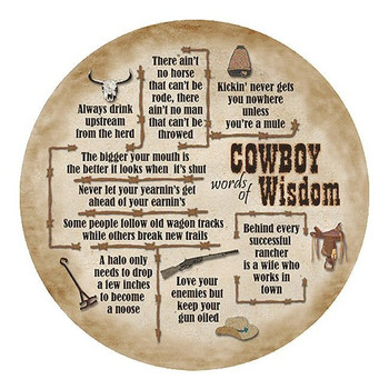 Words of Cowboy Wisdom Sandstone Round Beverage Coasters, Set of 8
