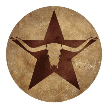 Longhorn Steer Western Star Sandstone Beverage Coasters, Set of 8