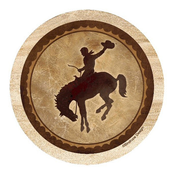 Buckin' Bronc Sandstone Round Coasters by Bindrune Design, Set of 8