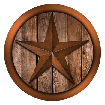 Western Star on Barnwood Absorbent Round Beverage Coasters, Set of 8