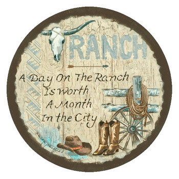 Ranch Absorbent Round Beverage Coasters by Anita Phillips, Set of 8