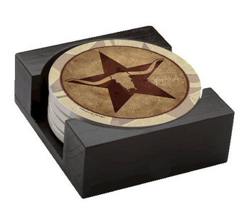 Western Star Longhorn Steer Absorbent Beverage Coasters, Set of 10