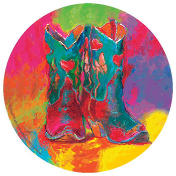 Cowboy Boots Absorbent Beverage Coasters by Richard Wallich, Set of 8
