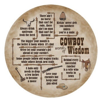 Cowboy Wisdom Absorbent Round Beverage Coasters, Set of 12