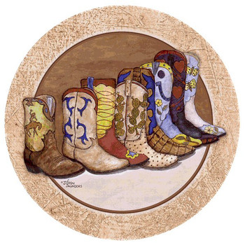 Showing Off Cowboy Boots Round Coasters by John Saunders, Set of 12