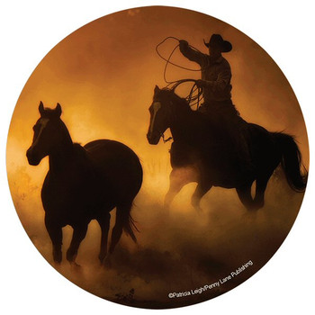 Golden Sunset Cowboy Round Beverage Coasters by P. Leigh, Set of 8