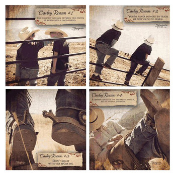 Four Cowboy Reasons Beverage Coasters by Shawnda Eva, Set of 8