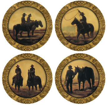 Cowboys and Horses Beverage Coasters, Set of 8