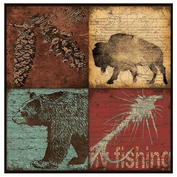 Buffalo Bear Four Patch Absorbent Beverage Coasters, Set of 8