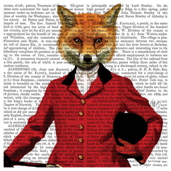 Fox Hunter Portrait Print Absorbent Beverage Coasters, Set of 12