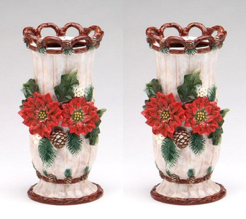 Poinsettia and Pinecone Ceramic Vase, Set of 2