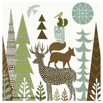 Forest Folklore Deer Absorbent Coasters by Michael Mullan, Set of 8
