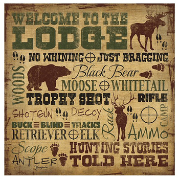 Welcome to the Lodge Moose Bear Elk Absorbent Coasters, Set of 8