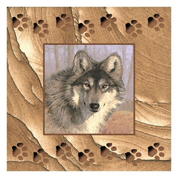 Untamed Spirit Wolf Cinnabar Sandstone Beverage Coasters, Set of 8