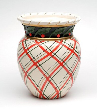 Holly Plaid Bouquet Ceramic Vase