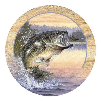 Anglers Dream Big Mouth Bass Sandstone Beverage Coasters, Set of 8