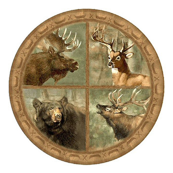 Wildlife Collage Moose Deer Bear Elk Sandstone Coasters, Set of 8