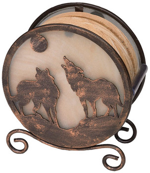 Banded Swirl Sandstone Coasters w/Two Wolves Metal Holder, Set of 10