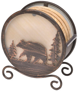 Banded Swirl Sandstone Coasters with Bear Metal Holder, Set of 10