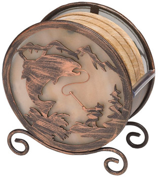 Banded Swirl Sandstone Coasters with Fishing Metal Holder, Set of 10