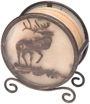 Banded Swirl Sandstone Coasters with Elk Metal Holder, Set of 10