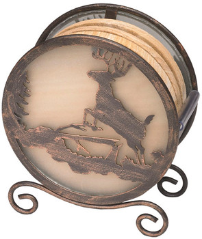 Banded Swirl Sandstone Coasters with Deer Metal Holder, Set of 10