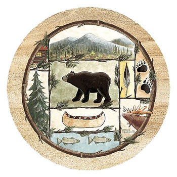 Cabin Fever Sandstone Beverage Coasters by Donna Jensen, Set of 8