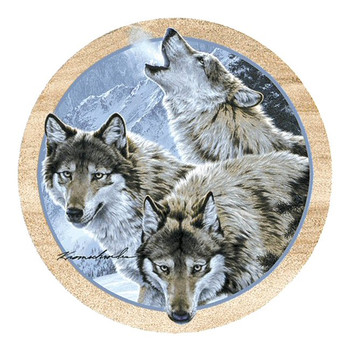 Moon Dancers Wolves Sandstone Coasters by Lee Kromschroeder, Set of 8