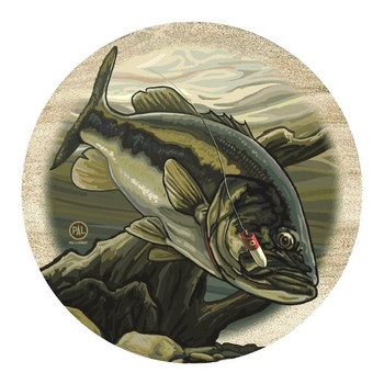 Hooked Bass Fish Sandstone Beverage Coasters by P. Lanquist, Set of 8