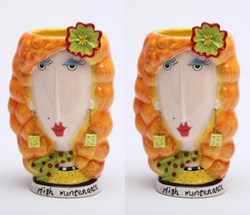 High Maintenance Lady Ceramic Vase, Set of 2