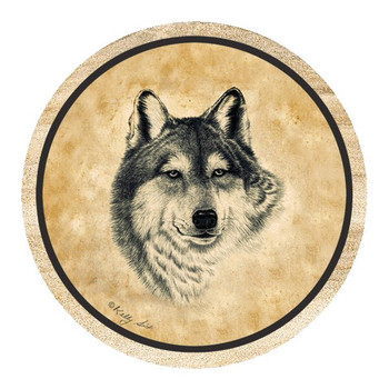 Wolf Sandstone Beverage Coasters by Kelly Six, Set of 8