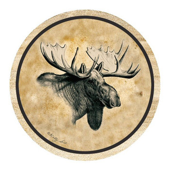 Moose Sandstone Beverage Coasters by Kelly Six, Set of 8