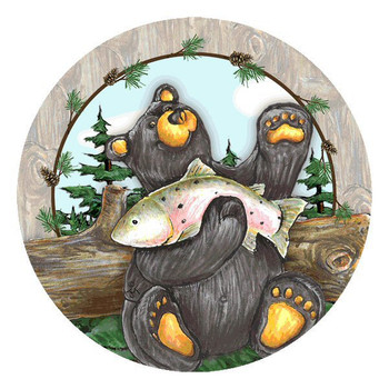 Big Sky Bear Round Beverage Coasters by Jeff Fleming, Set of 8