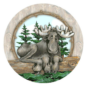 Big Sky Moose Absorbent Round Beverage Coasters, Set of 8