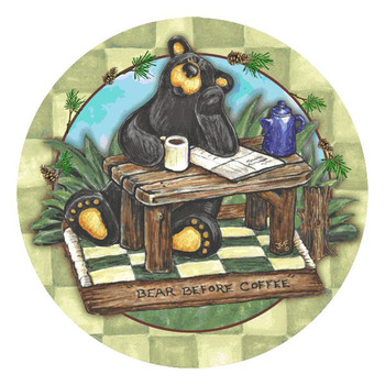 Big Sky Bear Before Coffee Round Coasters by Jeff Fleming, Set of 8