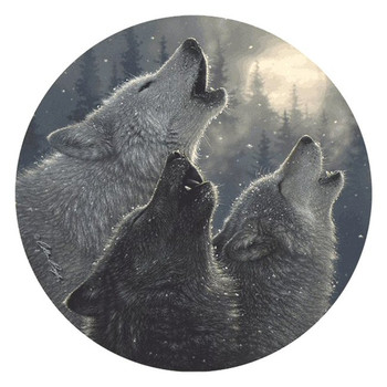 In Harmony Wolves Round Beverage Coasters by Collin Bogle, Set of 8