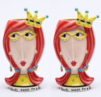 Beauty Queen Ceramic Vase, Set of 2