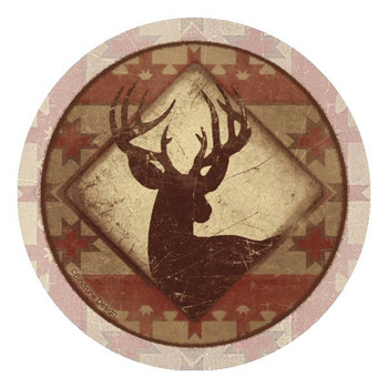 Deer Lodge Round Beverage Coasters by Bindrune Design, Set of 8