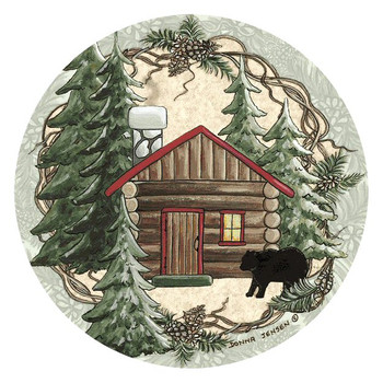 Rustic Cabin with Bear Round Coasters by Donna Jensen, Set of 8
