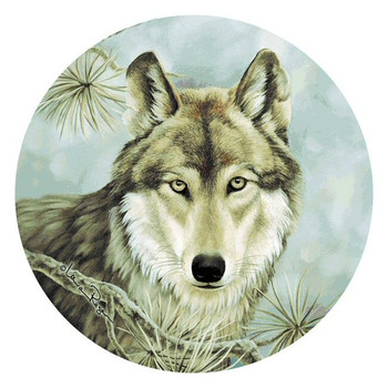 Lone Wolf Absorbent Round Beverage Coasters by Laura Regan, Set of 8