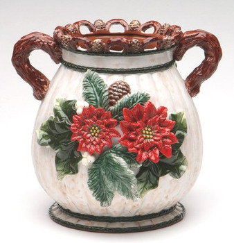 Poinsettia and Pinecone Bouquet Ceramic Vase