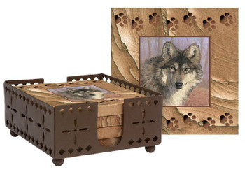 Untamed Spirit Wolf Sandstone Coasters with Steel Holder, Set of 10